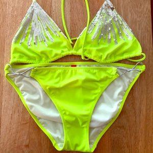 Stunning Neon Victoria Secrets Bikini w/Sequins